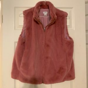 J Crew faux fur vest sz L rosy pink